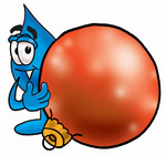 Clip Art Graphic of a Blue Waterdrop or Tear Character Standing With a Christmas Bauble