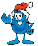 Clip Art Graphic of a Blue Waterdrop or Tear Character Wearing a Santa Hat and Waving