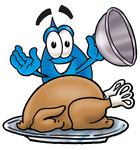 Clip Art Graphic of a Blue Waterdrop or Tear Character Serving a Thanksgiving Turkey on a Platter