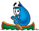 Clip Art Graphic of a Blue Waterdrop or Tear Character Rowing a Boat