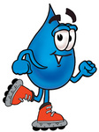 Clip Art Graphic of a Blue Waterdrop or Tear Character Roller Blading on Inline Skates
