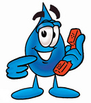 Clip Art Graphic of a Blue Waterdrop or Tear Character Holding a Telephone