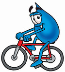 Clip Art Graphic of a Blue Waterdrop or Tear Character Riding a Bicycle
