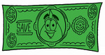 Clip Art Graphic of a Blue Waterdrop or Tear Character on a Dollar Bill
