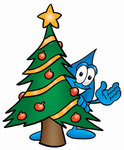 Clip Art Graphic of a Blue Waterdrop or Tear Character Waving and Standing by a Decorated Christmas Tree