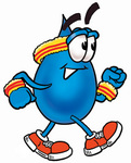 Clip Art Graphic of a Blue Waterdrop or Tear Character Speed Walking or Jogging