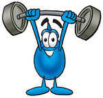 Clip Art Graphic of a Blue Waterdrop or Tear Character Holding a Heavy Barbell Above His Head