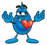 Clip Art Graphic of a Blue Waterdrop or Tear Character With His Heart Beating Out of His Chest