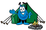 Clip Art Graphic of a Blue Waterdrop or Tear Character Camping With a Tent and Fire