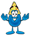 Clip Art Graphic of a Blue Waterdrop or Tear Character Wearing a Birthday Party Hat