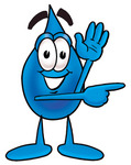 Clip Art Graphic of a Blue Waterdrop or Tear Character Waving and Pointing