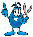Clip Art Graphic of a Blue Waterdrop or Tear Character Holding a Pair of Scissors