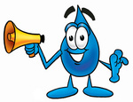 Clip Art Graphic of a Blue Waterdrop or Tear Character Holding a Megaphone