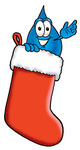 Clip Art Graphic of a Blue Waterdrop or Tear Character Inside a Red Christmas Stocking