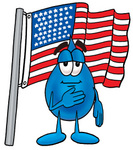 Clip Art Graphic of a Blue Waterdrop or Tear Character Pledging Allegiance to an American Flag