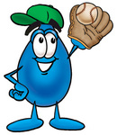 Clip Art Graphic of a Blue Waterdrop or Tear Character Catching a Baseball With a Glove