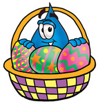 Clip Art Graphic of a Blue Waterdrop or Tear Character in an Easter Basket Full of Decorated Easter Eggs