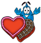Clip Art Graphic of a Blue Waterdrop or Tear Character With an Open Box of Valentines Day Chocolate Candies