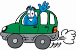 Clip Art Graphic of a Blue Waterdrop or Tear Character Driving a Green Car and Waving