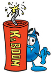 Clip Art Graphic of a Blue Waterdrop or Tear Character Standing With a Lit Stick of Dynamite