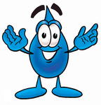 Clip Art Graphic of a Blue Waterdrop or Tear Character With Welcoming Open Arms