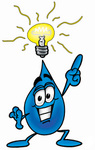 Clip Art Graphic of a Blue Waterdrop or Tear Character With a Bright Idea