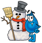 Clip Art Graphic of a Blue Waterdrop or Tear Character With a Snowman on Christmas