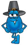Clip Art Graphic of a Blue Waterdrop or Tear Character Wearing a Pilgrim Hat on Thanksgiving