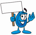 Clip Art Graphic of a Blue Waterdrop or Tear Character Holding a Blank Sign