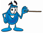 Clip Art Graphic of a Blue Waterdrop or Tear Character Holding a Pointer Stick