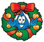 Clip Art Graphic of a Blue Waterdrop or Tear Character in the Center of a Christmas Wreath