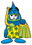 Clip Art Graphic of a Blue Waterdrop or Tear Character in Green and Yellow Snorkel Gear