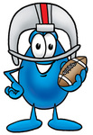 Clip Art Graphic of a Blue Waterdrop or Tear Character in a Helmet, Holding a Football