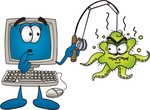 Clip Art Graphic of a Shocked Desktop Computer Cartoon Character With an Ugly Green Octopus Hooked on His Fishing Pole