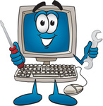 Clip Art Graphic of a Desktop Computer Cartoon Character Holding a Wrench and Screwdriver