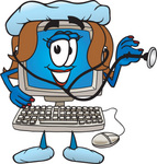 Clip Art Graphic of a Female Desktop Computer Cartoon Character Nurse Holding a Stethoscope