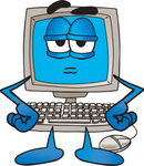 Clip Art Graphic of a Grumpy Desktop Computer Cartoon Character With His Hands on His Hips