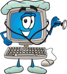 Clip Art Graphic of a Male Desktop Computer Cartoon Character Nurse or Doctor Holding a Stethoscope