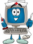 Clip Art Graphic of a Desktop Computer Nurse Cartoon Character Holding a Syringe and Scalpel