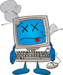 Clip Art Graphic of a Sick Desktop Computer Cartoon Character With a Virus
