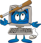 Clip Art Graphic of a Desktop Computer Cartoon Character Being Broken With a Baseball Bat