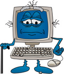 Clip Art Graphic of an Old Desktop Computer Cartoon Character With Keys Falling Off of the Keyboard, Using a Cane