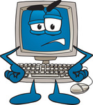 Clip Art Graphic of a Grumpy Desktop Computer Cartoon Character