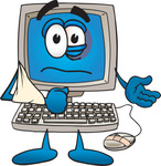 Clip Art Graphic of a Beat up Desktop Computer Cartoon Character With a Black Eye, a Bandage on its Mouse and its Arm in a Sling