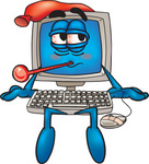 Clip Art Graphic of a Sick Desktop Computer Cartoon Character With a Virus, Sitting With a Pack on His Head and a Thermometer in His Mouth