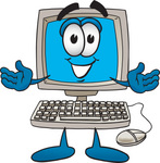 Clip Art Graphic of a Friendly Desktop Computer Cartoon Character