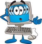 Clip Art Graphic of a Confused Desktop Computer Cartoon Character