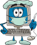 Clip Art Graphic of a Desktop Computer Surgeon Cartoon Character in Scrubs, Holding a Scalpel