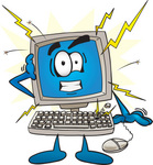 Clip Art Graphic of a Crashing Desktop Computer Cartoon Character