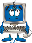 Clip Art Graphic of a Desktop Computer Cartoon Character With a Hole in the Screen